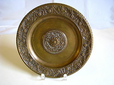 CONTINENTAL SOLID CAST BRONZE PLAQUE PLATE PLATTER France ca1800s Excel Cond