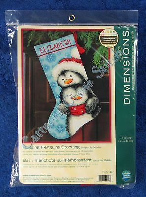 Christmas Needlepoint Kit Hugging Penguins Stocking Dimensions