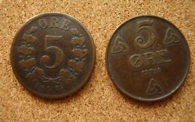 Norway, 5 Ore coins 1875 & 1911