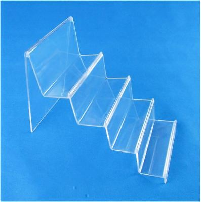 2PC - 4 Tier 14cm Wide Step Clear Acrylic Retail Display Stand Rack Wallet Purse