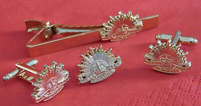 Australian Army Rising Sun Jewellery Set Tiebar, Cufflinks & Lapel Badge