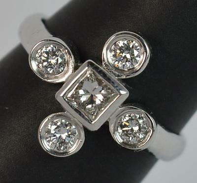 Stylish Art Deco Design 0.75ct Diamond and 14ct White Gold Cluster Ring d0888