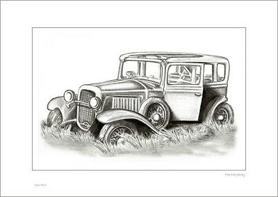 The Old Jalopy      Australian Pencil  Drawing   Limited Edition Print