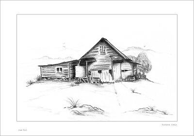 Outback Cabin    Australian Pencil  Drawing   Limited Edition Print