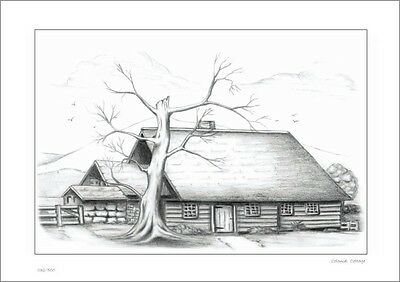 Colonial Cottage     Australian    Pencil  Drawing   Limited Edition Print