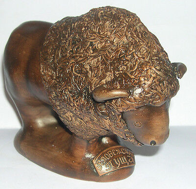 Vintage Art Pottery - Bison / Buffalo Figurine - Detailed Stylized Modeling.