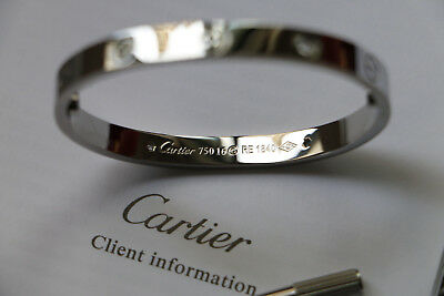 Cartier Love Bracelet 18k White Gold 4 Diamonds Size 16 new screw system