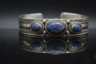 Sterling Silver Estate 3 Stone Denim Lapis Cuff Bracelet
