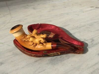 Vintage Meerschaum Pipe Equestrian Horses Playing Fighting Nice Patina USED