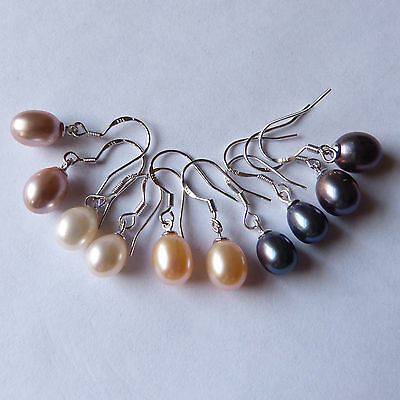 Genuine freshwater pearl drop earrings 925 silver choice of four colours