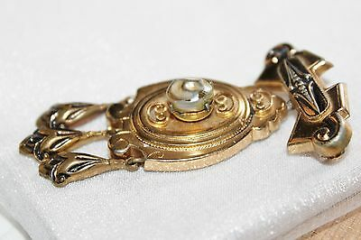 VICTORIAN Revival Rolled GOLD Faux BLISTER PEARL 3 Tier DANGLE Brooch Pin