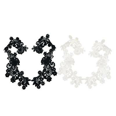 1 Pair Flower Lace Trim Embroidered Applique for Wedding Bridal Cloth DIY Sewing