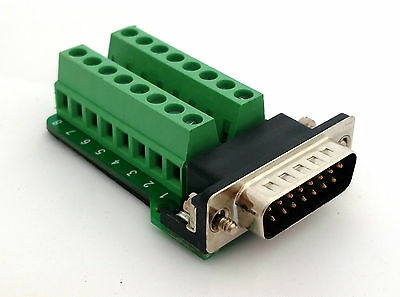 DB15 DSUB 15-pin Male Adapter RS-232 Breakout Board Connector (D7)