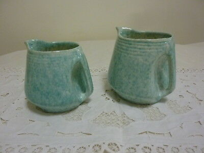Two Vintage Australian Pates Pottery Large Green & White Speckled Pouring Jugs