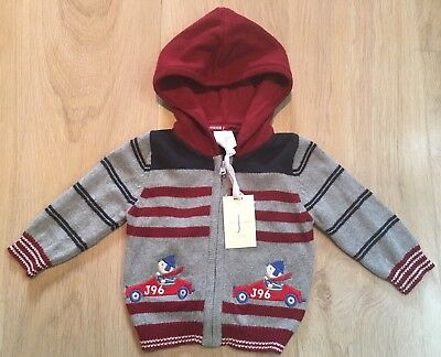 Jasper Conran Baby Boys 3-6 Months Hooded Cardigan Jumper Sweater New With Tags