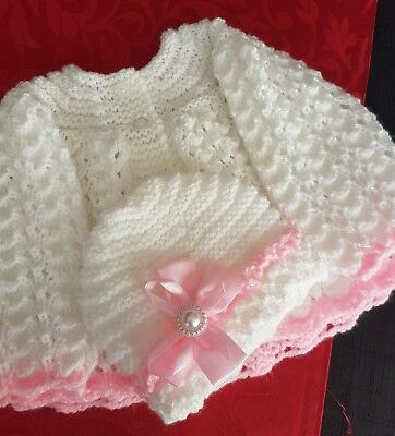 Gorgeous hand knitted little girls cardigan 0/3 months