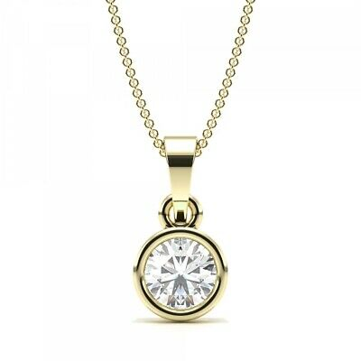 1/3ct I1/HI Natural Round Diamond 18K Yellow Gold Solitaire Pendant Necklace