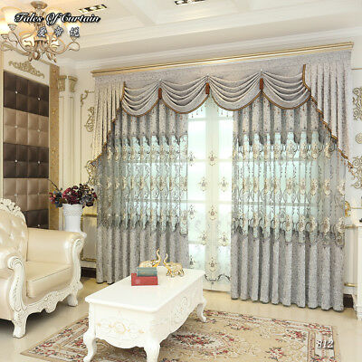 Luxury curtain head pleated drapes tulle Engineering curtain cloth customized