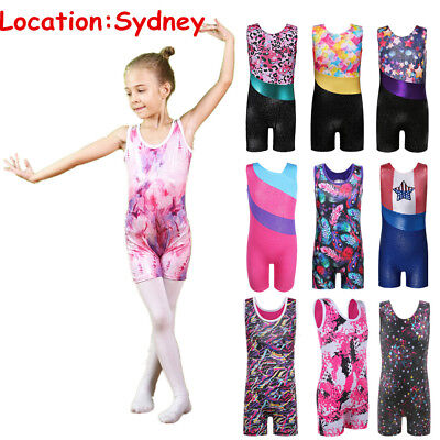 4-15Y Cute Girls Ballet Leotards Gymnastics Jumpsuit Bodysuit Athletic Unitard