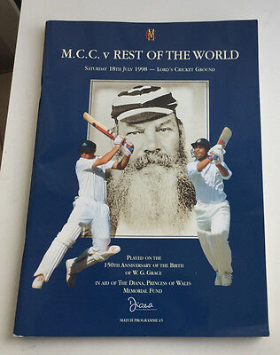 MCC v REST OF THE WORLD 1998 @ LORDS: PRINCESS DIANA WITH TEAM POSTCARDS