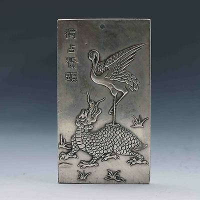 Chinese Collection Tibet Silver Hand Carved Chinese 独站鳌顶 Pendant  G584