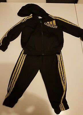 Adidas Infant Boy's Hooded Black Gold Tracksuit 12 18 months