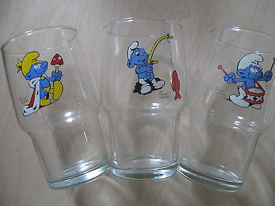 smurf smurfs collectible glass glasses drink ware lot king smurf fishing drummer
