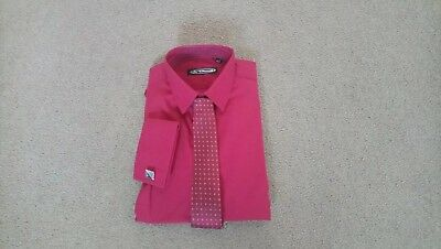 Boys burgundy red/wine shirt with tie and cuff links. Age 9-10. Brand new.