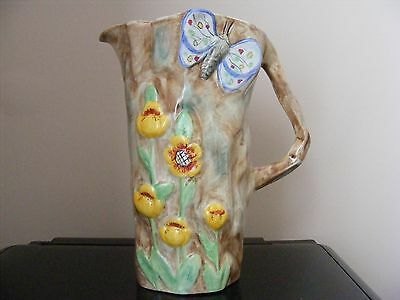 Radford Art Deco 1930s Hand Painted English Butterfly Ware Porcelain Jug