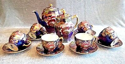 Maling Art deco Lustre Hand Painted Peony Dark Blue Pattern Stunning Coffee Set