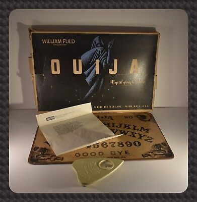 Vintage 1950's William Fuld Parker Brothers Ouija Board w/CRYPTIC NOTE Salem, MA