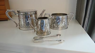 Large Victorian Silver Plated Tea Set - Walker And Hall