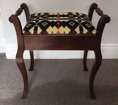 ANTIQUE vtg PIANO STOOL lift up seat storage WELSH TAPESTRY TWEED