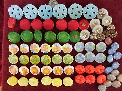 78 Lot Beautiful Old Vintage Glass Buttons