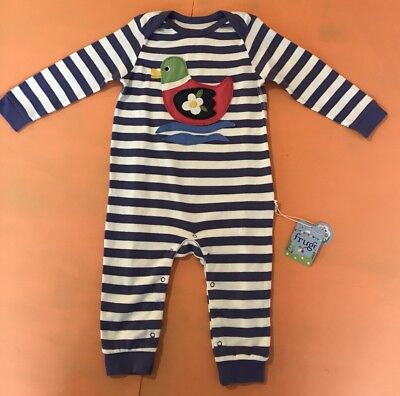 Frugi Organic Sleepsuit 12-18M  With Duck In Purple & White Stripes BNWT