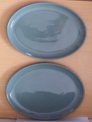 DENBY MANOR GREEN  EXTRA LARGE OVAL PLATES / PLATTTERS x 2 (12 INS x 8 INS)