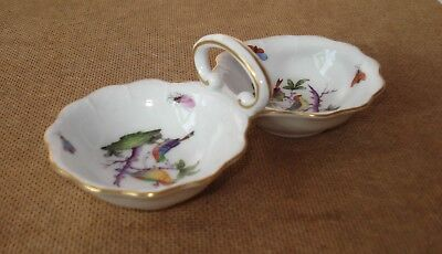 Herend Hungary Double Salts Dish. Birds and Insects. Hand Painted. Excellent.