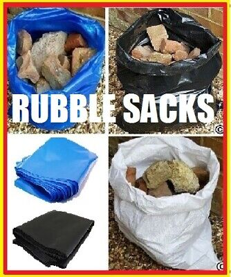 Heavy Duty Tough Builder Rubble Sack Black Blue Yellow or Woven WPP CHOICE