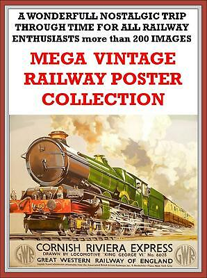 200 Vintage Posters Disc Nostalgic must have for all Railway Enthusiasts Steam