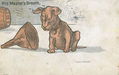 Vintage Pit Bull Dog Postcard PC His Master's Breath USA 1907