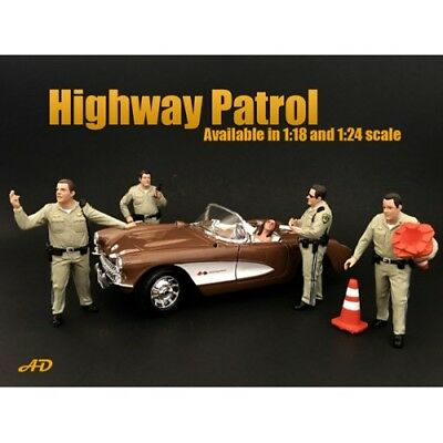 1/18 scale - HIGHWAY PATROL SET OF 4 FIGURES- AMERICAN DIORAMA- figure/figurine