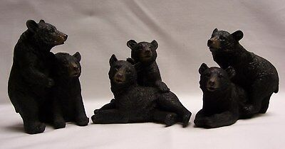 Set Of Three Black Bear Couple Figurines Rustic Home/Cabin Decor