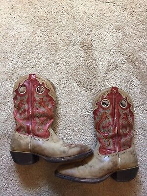 GUC Men's Tan & Red Leather TWISTED X Cowboy Boots Size 9.5 D