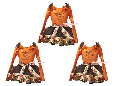 1st 2nd 3rd Thanksgiving Orange Top Brown Turkey Trim Skirt Girl Outfit NB-8Y