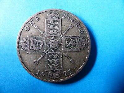 KING GEORGE V SILVER 1921 English ONE FLORIN High Collectable Grade TWO SHILLING