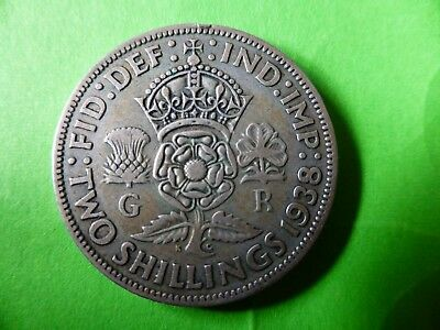 KING GEORGE VI SILVER 1938 English 1 FLORIN High Collectable Grade TWO SHILLINGS