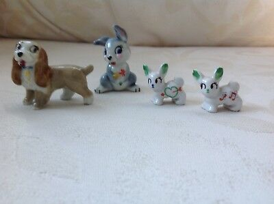 Vintage Wade Thumper And Lady Disney Ornaments + 2 Tiny Dogs.