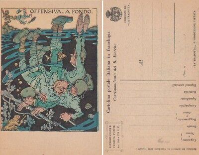 "Ww1 - Cartolina In Franchigia Ill. A. Rubino - ""offensiva ... A Fondo .""  - U7"