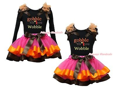Gobble Till You Wobble Black Top Hot Pink Satin Trim Skirt Girl Outfit Set NB-8Y