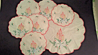 Vintage Christmas Set Of 6 Coasters & Doily Embroidered ~ VERY Good Condition!!